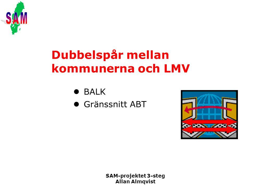 SAM-projektet 3-steg Allan Almqvist Dubbelspår mellan kommunerna och LMV BALK Gränssnitt ABT