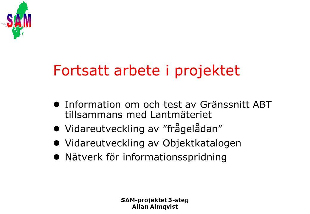 SAM-projektet 3-steg Allan Almqvist Fortsatt arbete i projektet Information om och test av Gränssnitt ABT tillsammans med Lantmäteriet Vidareutvecklin