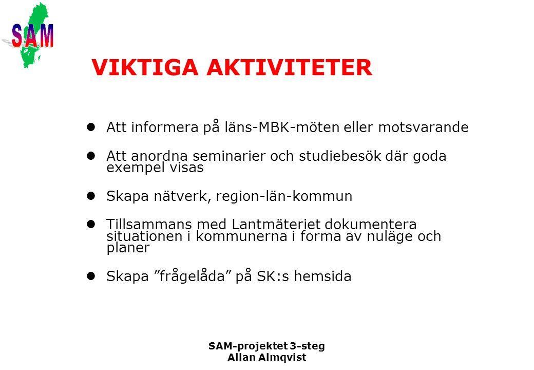 SAM-projektet 3-steg Allan Almqvist VIKTIGA AKTIVITETER Att informera på läns-MBK-möten eller motsvarande Att anordna seminarier och studiebesök där g