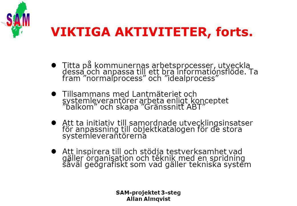 SAM-projektet 3-steg Allan Almqvist VIKTIGA AKTIVITETER, forts. Titta på kommunernas arbetsprocesser, utveckla dessa och anpassa till ett bra informat