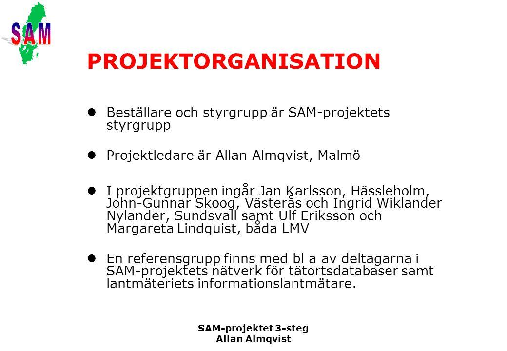 SAM-projektet 3-steg Allan Almqvist PROJEKTORGANISATION Beställare och styrgrupp är SAM-projektets styrgrupp Projektledare är Allan Almqvist, Malmö I