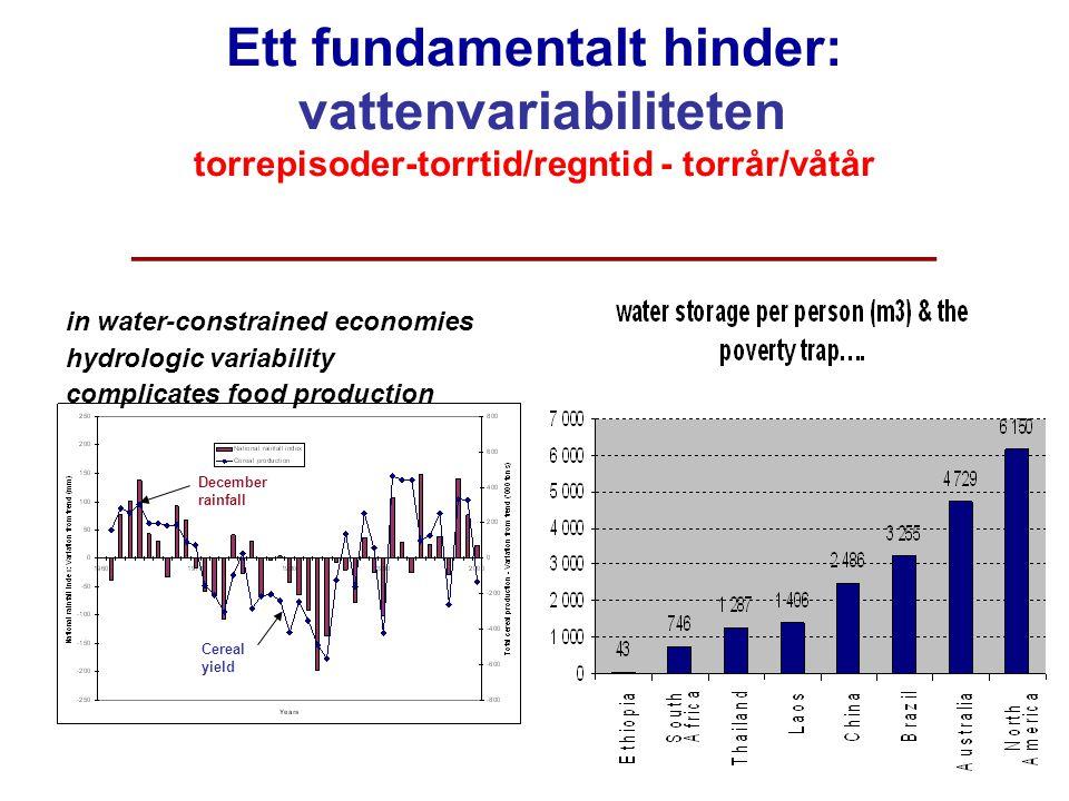 M. Falkenmark, Sigtuna, Augusti 2008 Ett fundamentalt hinder: vattenvariabiliteten torrepisoder-torrtid/regntid - torrår/våtår ______________________