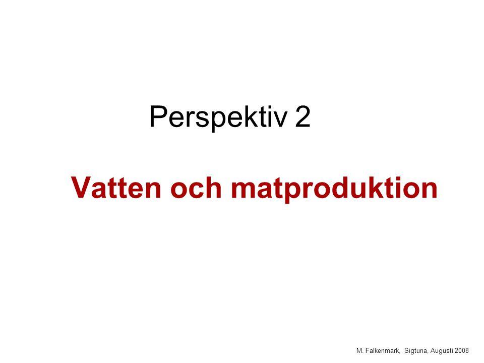 M. Falkenmark, Sigtuna, Augusti 2008 Perspektiv 2 Vatten och matproduktion