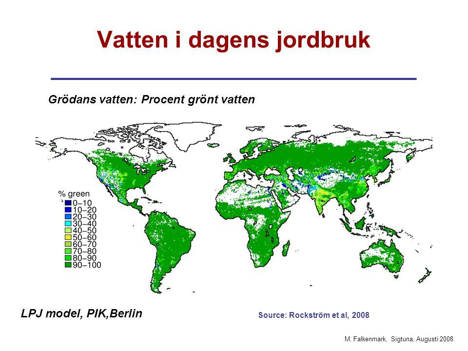 M. Falkenmark, Sigtuna, Augusti 2008 Vatten i dagens jordbruk ____________________________ Grödans vatten: Procent grönt vatten LPJ model, PIK,Berlin