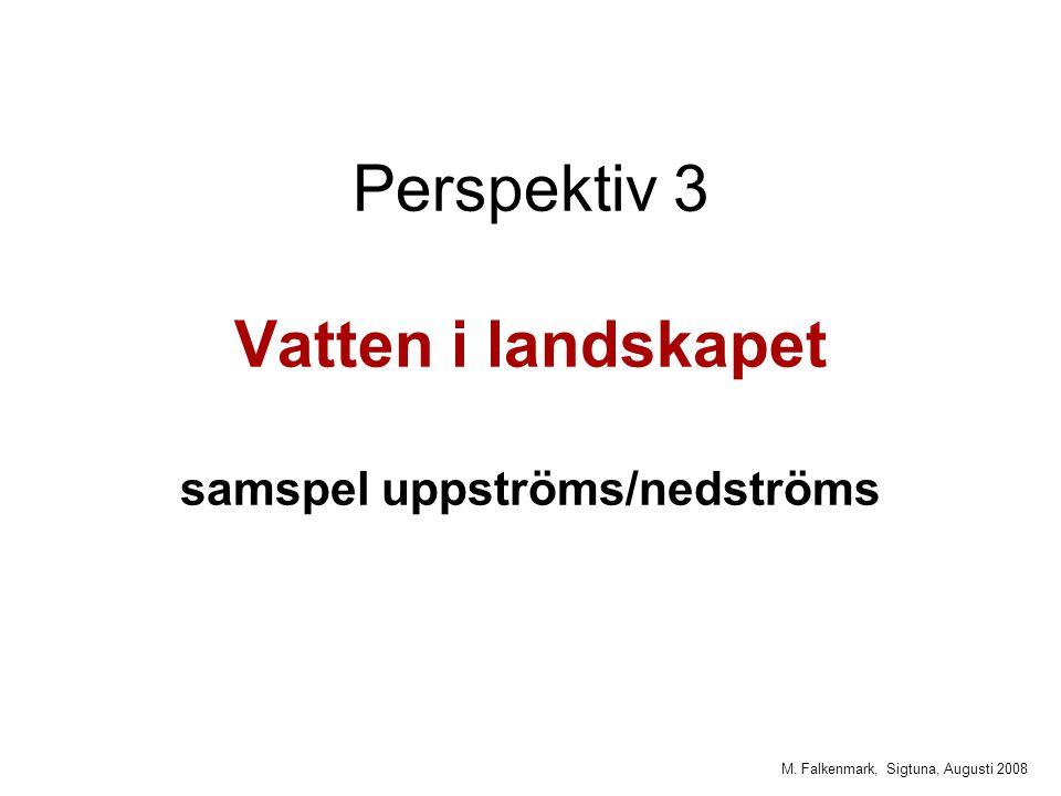 M. Falkenmark, Sigtuna, Augusti 2008 Perspektiv 3 Vatten i landskapet samspel uppströms/nedströms