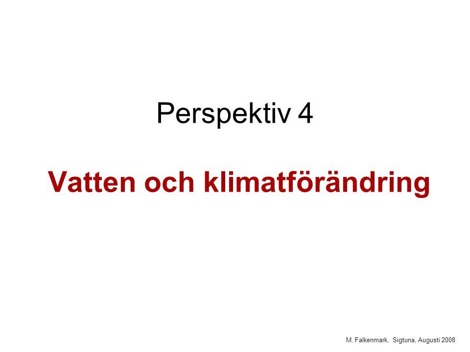 M. Falkenmark, Sigtuna, Augusti 2008 Perspektiv 4 Vatten och klimatförändring