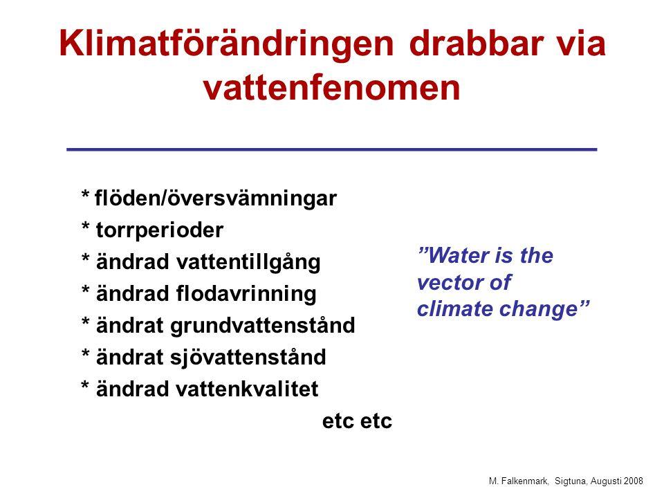 M. Falkenmark, Sigtuna, Augusti 2008 Klimatförändringen drabbar via vattenfenomen __________________________ * flöden/översvämningar * torrperioder *