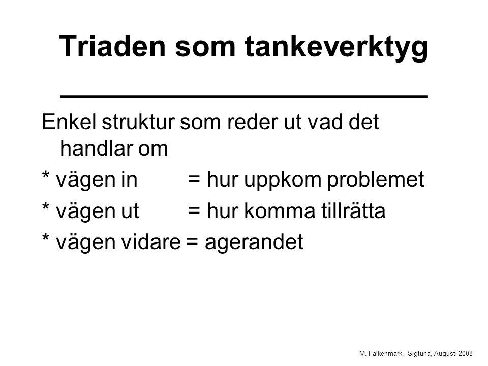 M. Falkenmark, Sigtuna, Augusti 2008 Triaden som tankeverktyg ______________________ Enkel struktur som reder ut vad det handlar om * vägen in = hur u