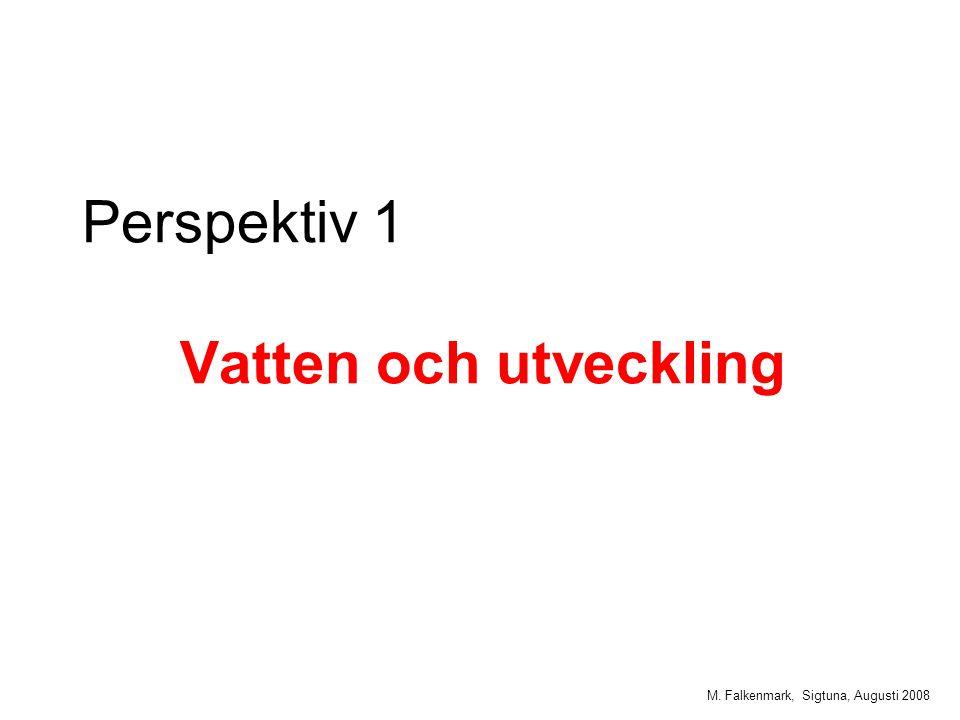M. Falkenmark, Sigtuna, Augusti 2008 Perspektiv 1 Vatten och utveckling