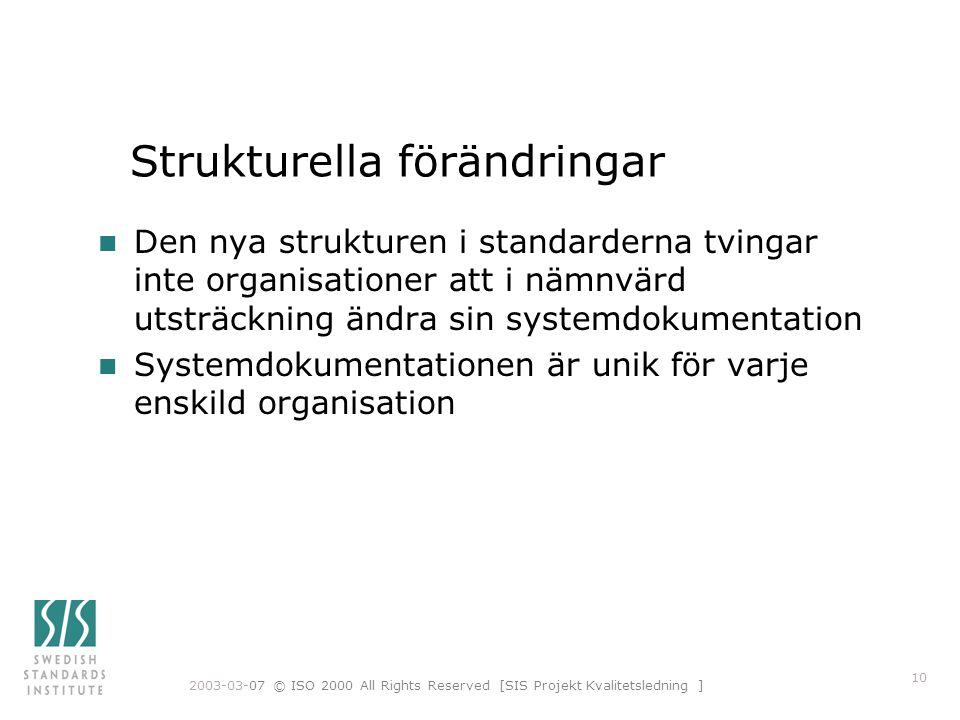 2003-03-07 © ISO 2000 All Rights Reserved [SIS Projekt Kvalitetsledning ] 10 Strukturella förändringar n Den nya strukturen i standarderna tvingar int