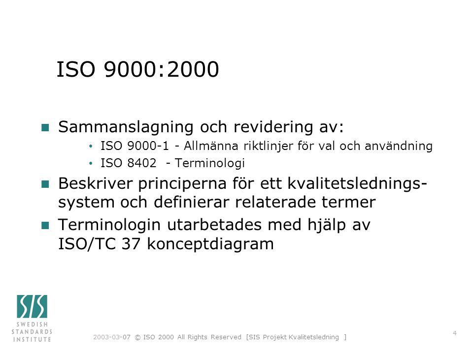 2003-03-07 © ISO 2000 All Rights Reserved [SIS Projekt Kvalitetsledning ] 15 Förändrad terminologi (2) (ISO 9000) kvalitet: grad till vilken inneboende egenskaper uppfyller krav
