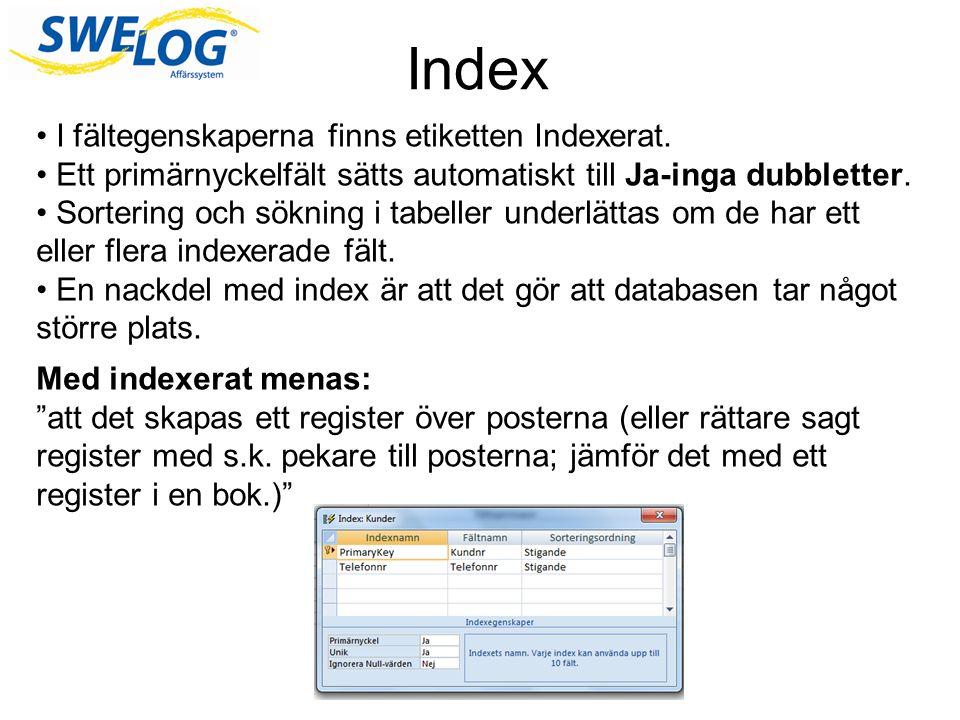 Index I fältegenskaperna finns etiketten Indexerat.
