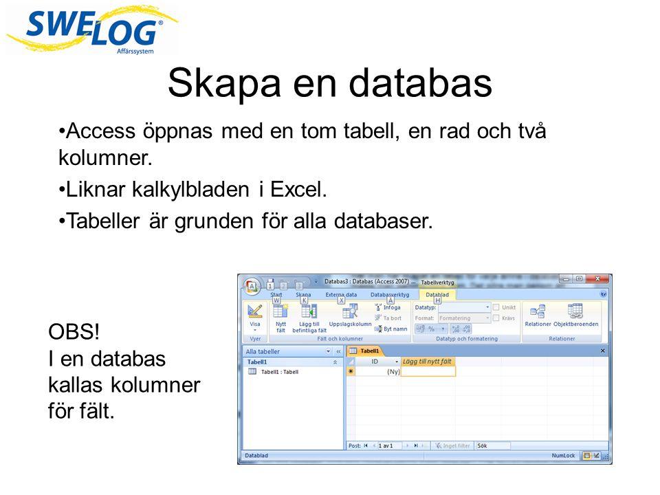 Skapa en databas Access öppnas med en tom tabell, en rad och två kolumner.