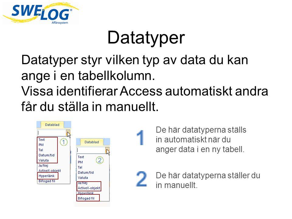 Datatyper Datatyper styr vilken typ av data du kan ange i en tabellkolumn.