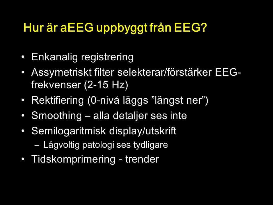 """Hur är aEEG uppbyggt från EEG? Enkanalig registrering Assymetriskt filter selekterar/förstärker EEG- frekvenser (2-15 Hz) Rektifiering (0-nivå läggs """""""