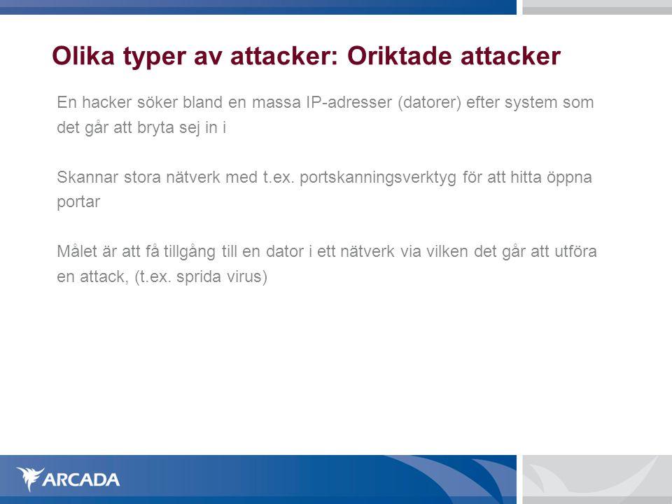 Olika typer av attacker: Oriktade attacker En hacker söker bland en massa IP-adresser (datorer) efter system som det går att bryta sej in i Skannar st