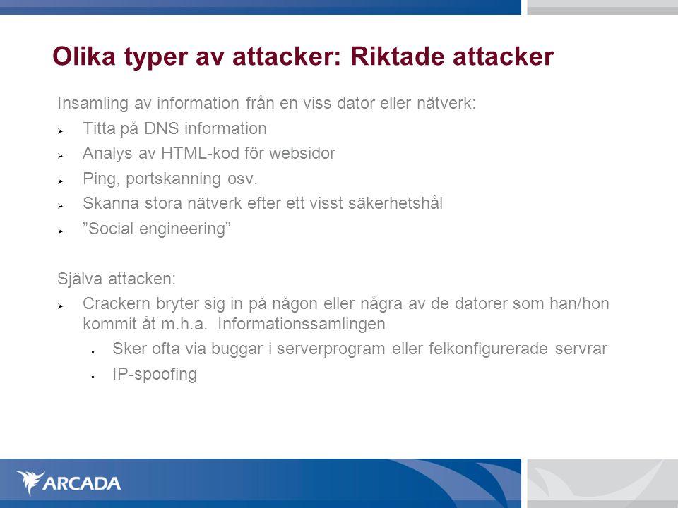 Olika typer av attacker: Riktade attacker Insamling av information från en viss dator eller nätverk:  Titta på DNS information  Analys av HTML-kod f