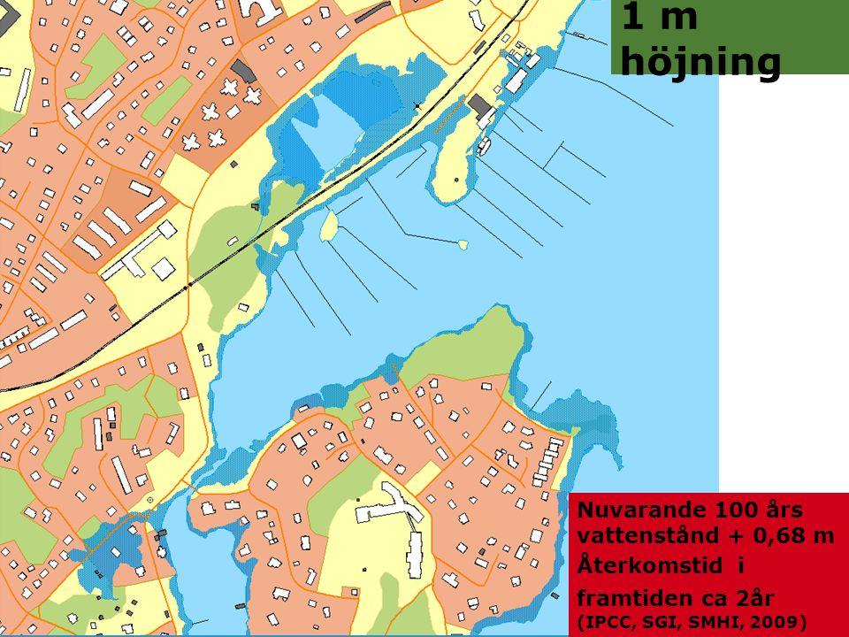Jonas Qvarfordt - Miljöstrateg Framtida havsnivåer i Stockholms län 13 1 m höjning Nuvarande 100 års vattenstånd + 0,68 m Återkomstid i framtiden ca 2