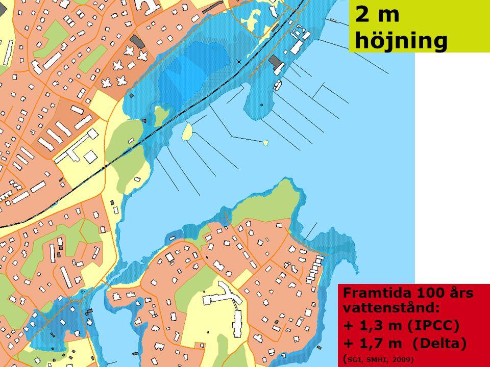 Jonas Qvarfordt - Miljöstrateg Framtida havsnivåer i Stockholms län 14 2 m höjning Framtida 100 års vattenstånd: + 1,3 m (IPCC) + 1,7 m (Delta) ( SGI,