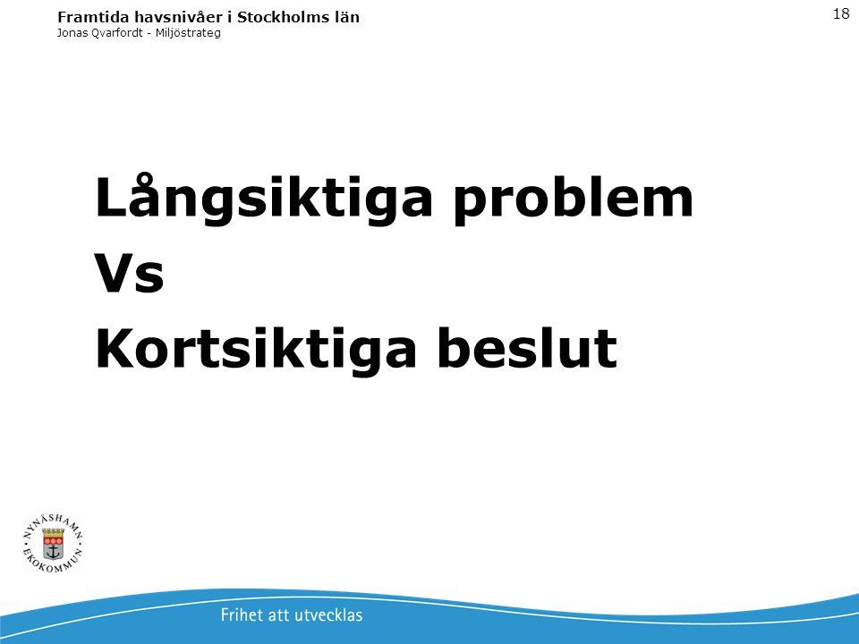 Jonas Qvarfordt - Miljöstrateg Framtida havsnivåer i Stockholms län 18 Långsiktiga problem Vs Kortsiktiga beslut