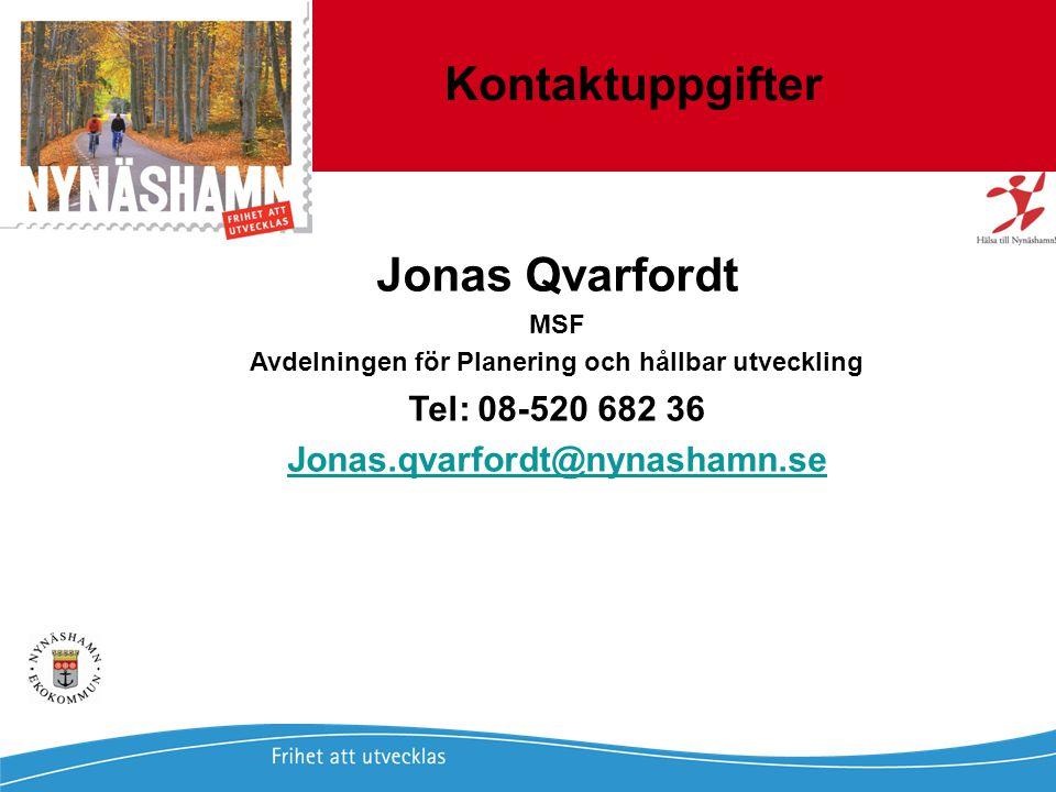Jonas Qvarfordt - Miljöstrateg Framtida havsnivåer i Stockholms län 23 Jonas Qvarfordt - 2009-02-02 Lokala Miljömål Nynäshamn 23 Kontaktuppgifter Jona