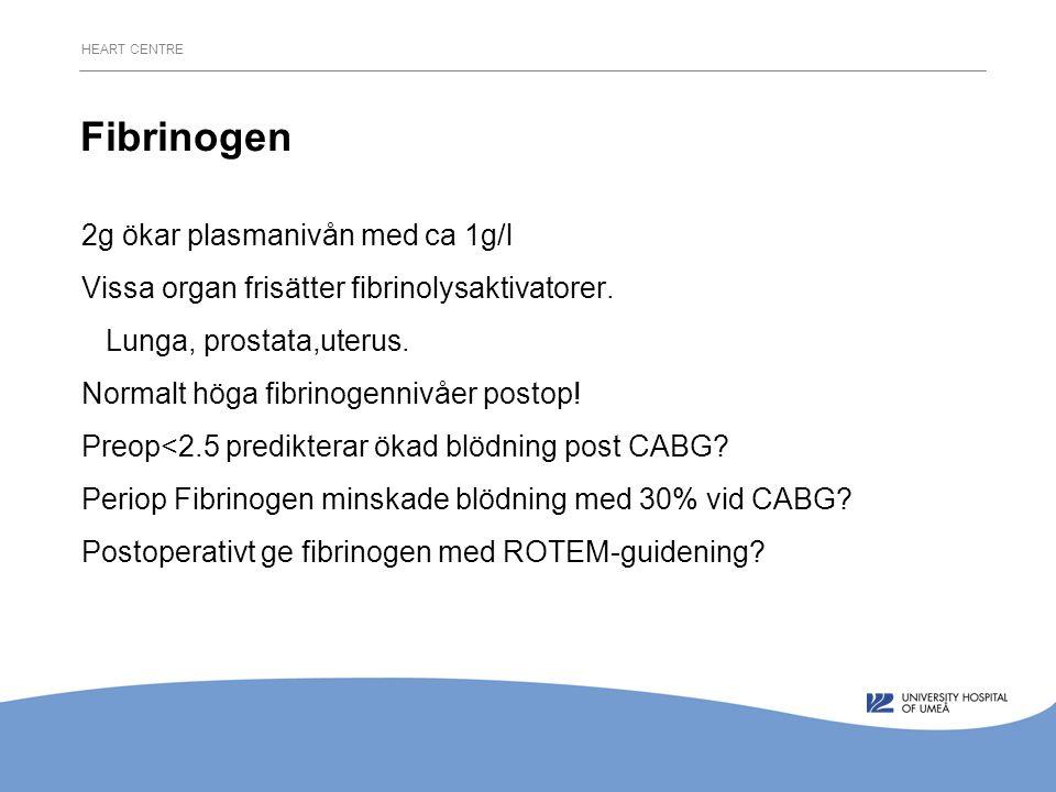 HEART CENTRE Fibrinogen 2g ökar plasmanivån med ca 1g/l Vissa organ frisätter fibrinolysaktivatorer.