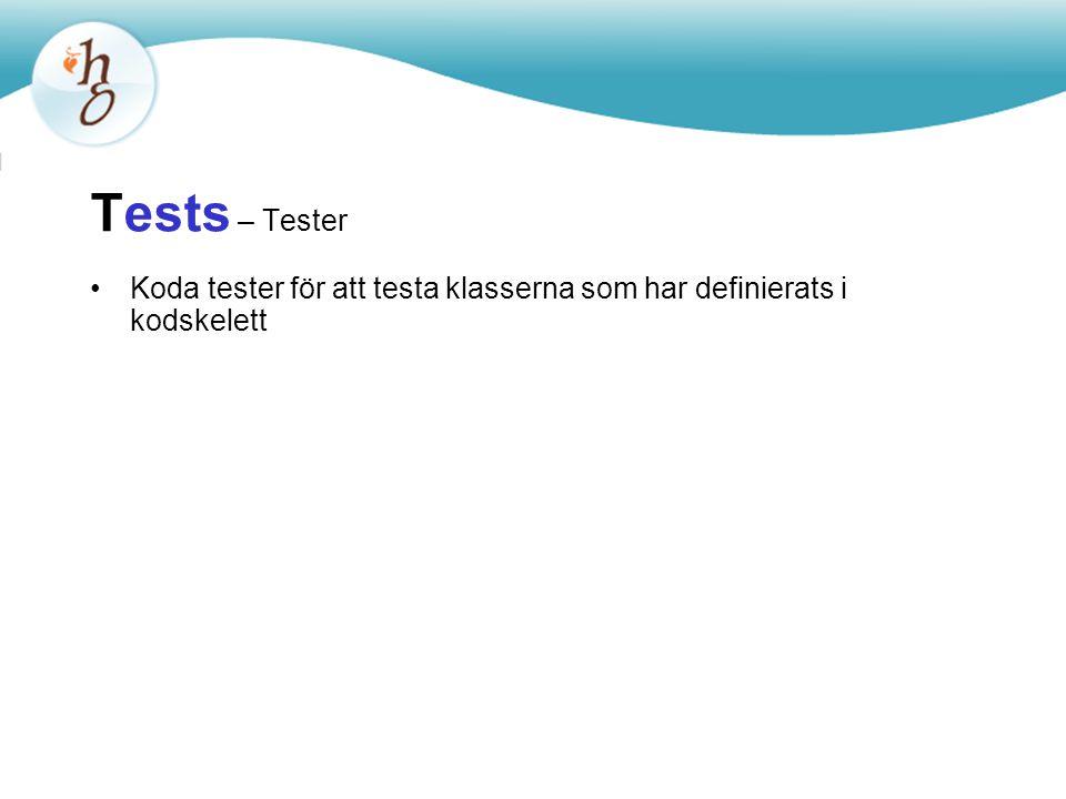 Tests – Tester Koda tester för att testa klasserna som har definierats i kodskelett