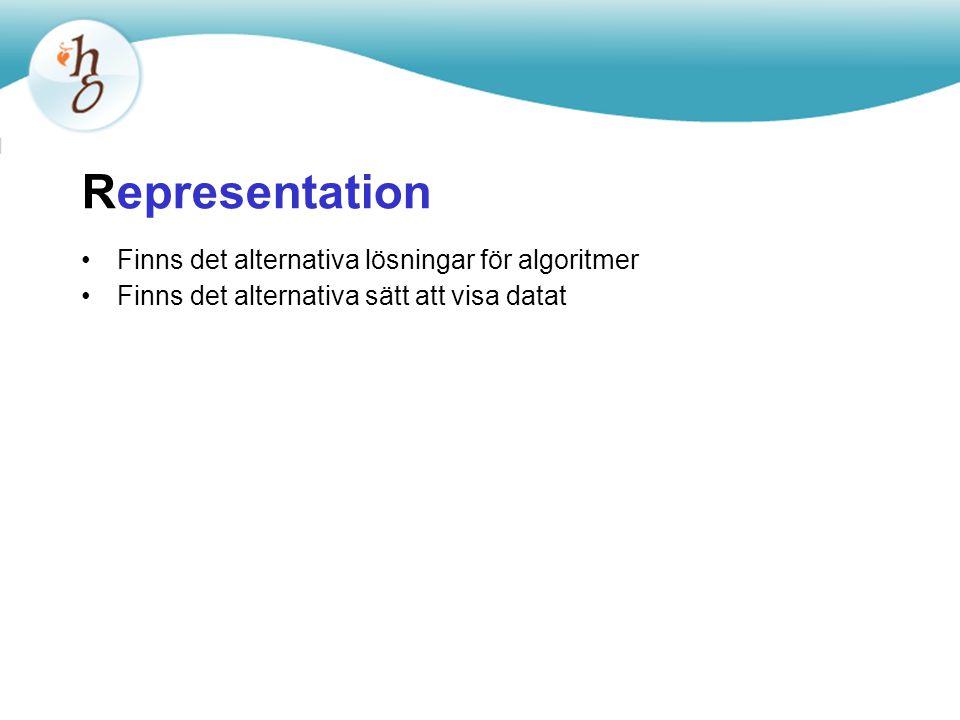Representation Finns det alternativa lösningar för algoritmer Finns det alternativa sätt att visa datat