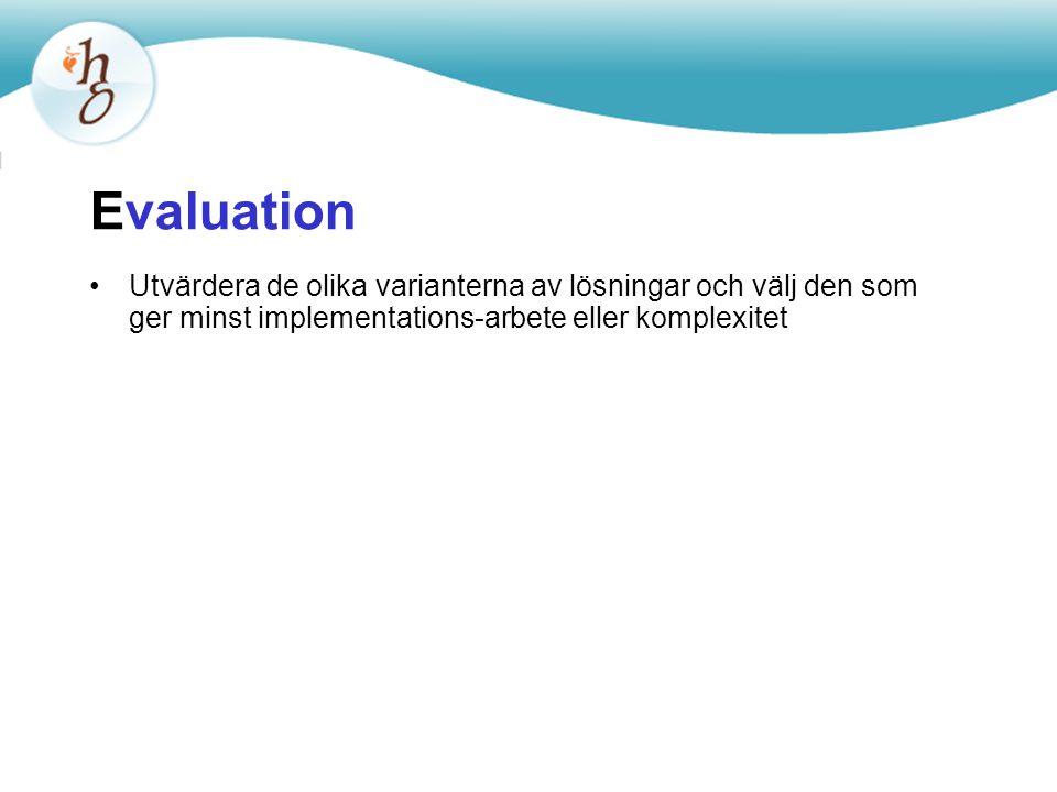 Evaluation Utvärdera de olika varianterna av lösningar och välj den som ger minst implementations-arbete eller komplexitet