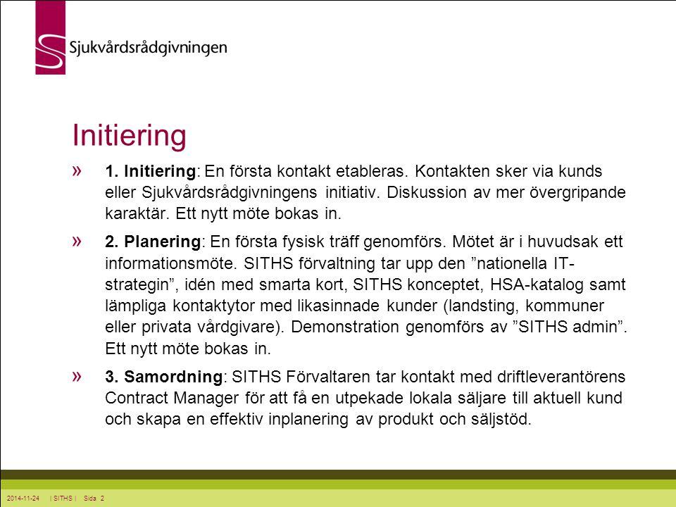 2014-11-24 | SITHS | Sida 2 Initiering » 1. Initiering: En första kontakt etableras. Kontakten sker via kunds eller Sjukvårdsrådgivningens initiativ.