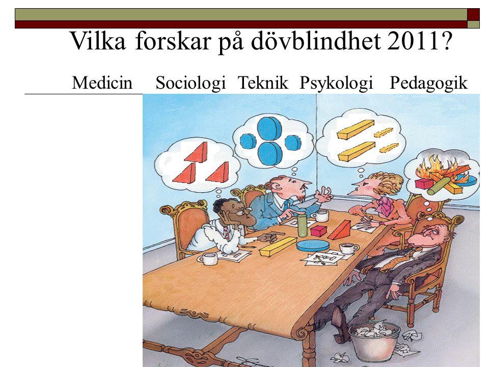 Vilka forskar på dövblindhet 2011? Medicin Sociologi Teknik Psykologi Pedagogik