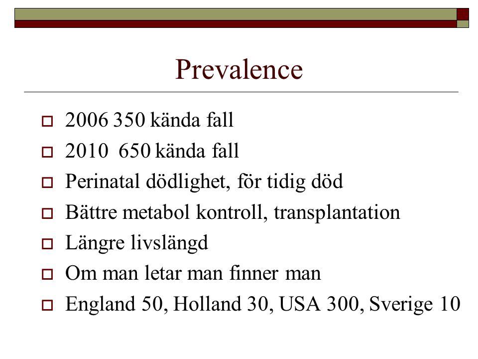 Prevalence  2006 350 kända fall  2010 650 kända fall  Perinatal dödlighet, för tidig död  Bättre metabol kontroll, transplantation  Längre livslä