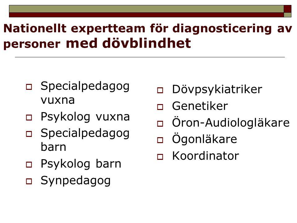 Nationellt expertteam för diagnosticering av personer med dövblindhet  Specialpedagog vuxna  Psykolog vuxna  Specialpedagog barn  Psykolog barn 