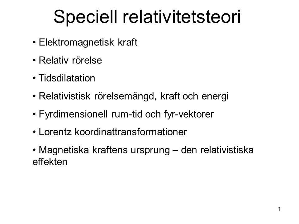Speciell relativitetsteori Elektromagnetisk kraft Relativ rörelse Tidsdilatation Relativistisk rörelsemängd, kraft och energi Fyrdimensionell rum-tid
