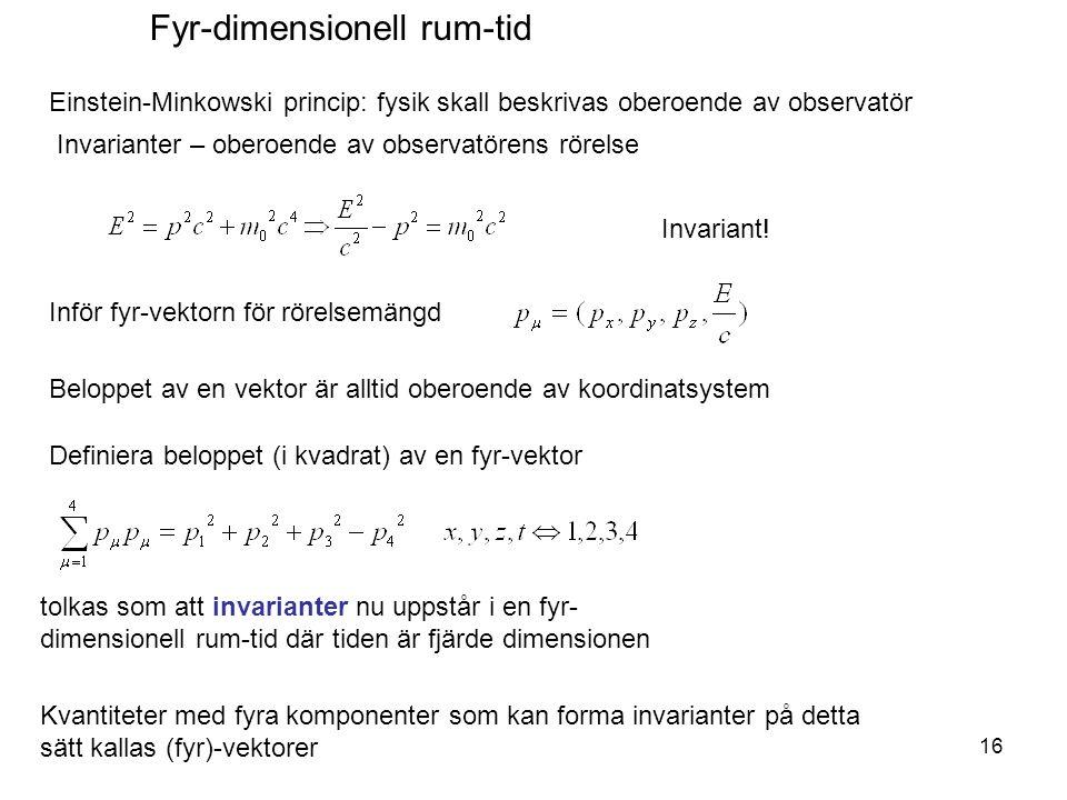 Invarianter – oberoende av observatörens rörelse Einstein-Minkowski princip: fysik skall beskrivas oberoende av observatör Invariant! Inför fyr-vektor