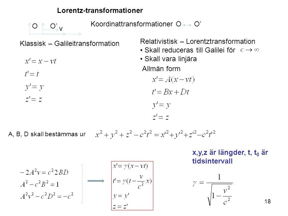18 Lorentz-transformationer v OO' Koordinattransformationer OO' Klassisk – Galileitransformation Relativistisk – Lorentztransformation Skall reduceras