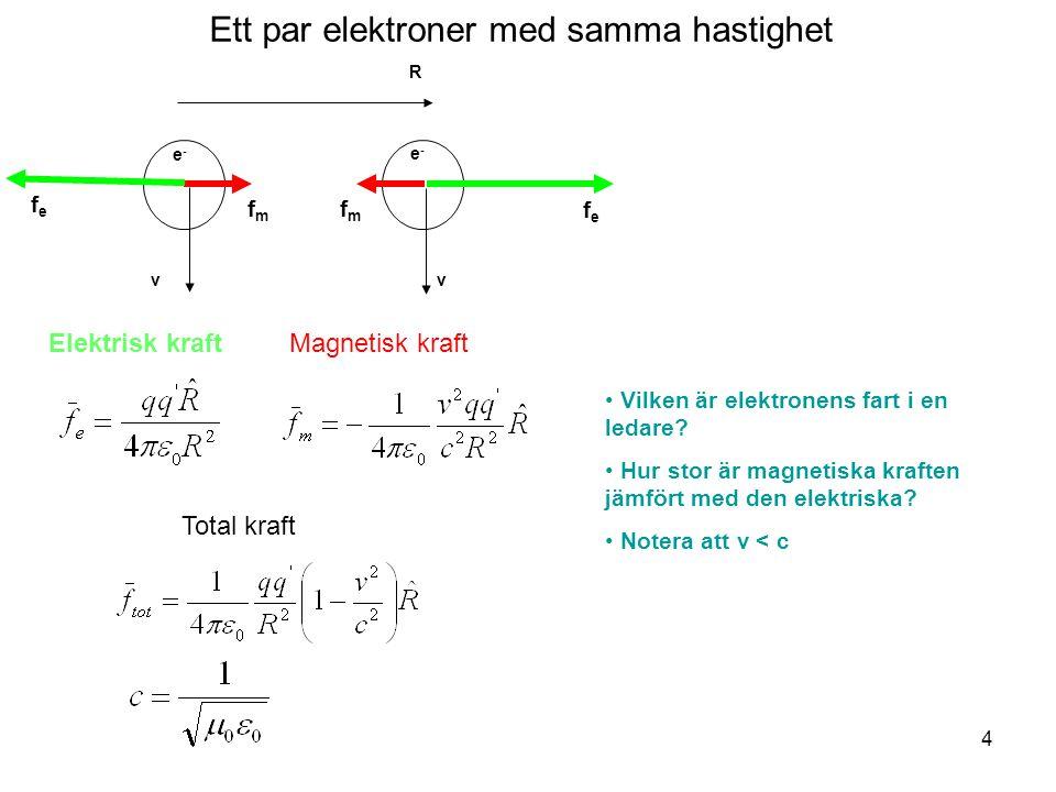 Ett par elektroner med samma hastighet v v f m fefe fefe e-e- e-e- R Elektrisk kraftMagnetisk kraft Total kraft Vilken är elektronens fart i en ledare