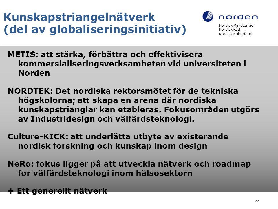 Kunskapstriangelnätverk (del av globaliseringsinitiativ) METIS: att stärka, förbättra och effektivisera kommersialiseringsverksamheten vid universiteten i Norden NORDTEK: Det nordiska rektorsmötet för de tekniska högskolorna; att skapa en arena där nordiska kunskapstrianglar kan etableras.