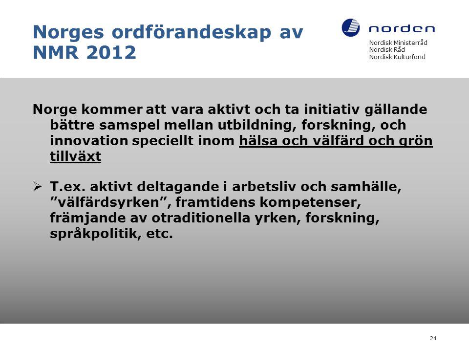 Norges ordförandeskap av NMR 2012 Norge kommer att vara aktivt och ta initiativ gällande bättre samspel mellan utbildning, forskning, och innovation speciellt inom hälsa och välfärd och grön tillväxt  T.ex.