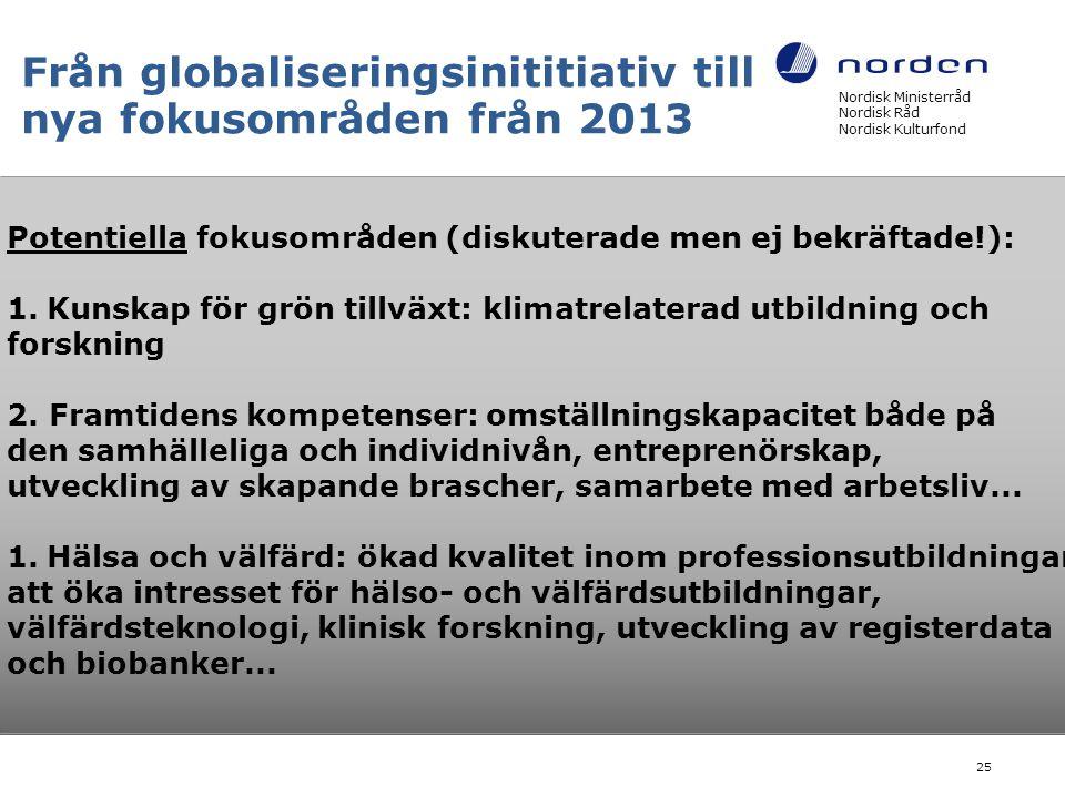 Från globaliseringsinititiativ till nya fokusområden från 2013 Nordisk Ministerråd Nordisk Råd Nordisk Kulturfond 25 Potentiella fokusområden (diskuterade men ej bekräftade!): 1.Kunskap för grön tillväxt: klimatrelaterad utbildning och forskning 2.