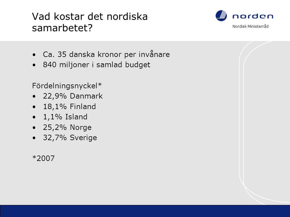 Nordisk Ministerråd Vad kostar det nordiska samarbetet? Ca. 35 danska kronor per invånare 840 miljoner i samlad budget Fördelningsnyckel* 22,9% Danmar