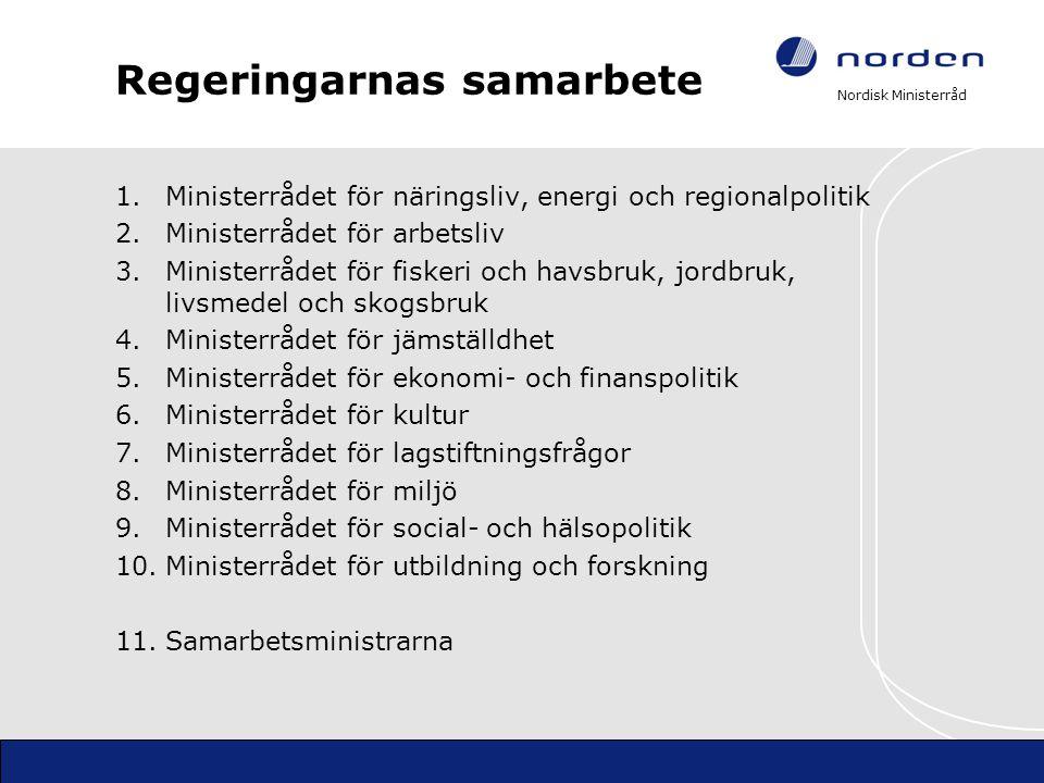 Nordisk Ministerråd Regeringarnas samarbete 1.Ministerrådet för näringsliv, energi och regionalpolitik 2.Ministerrådet för arbetsliv 3.Ministerrådet f