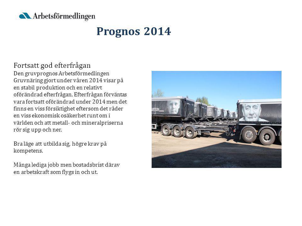 Prognos 2014 Fortsatt god efterfrågan Den gruvprognos Arbetsförmedlingen Gruvnäring gjort under våren 2014 visar på en stabil produktion och en relativt oförändrad efterfrågan.