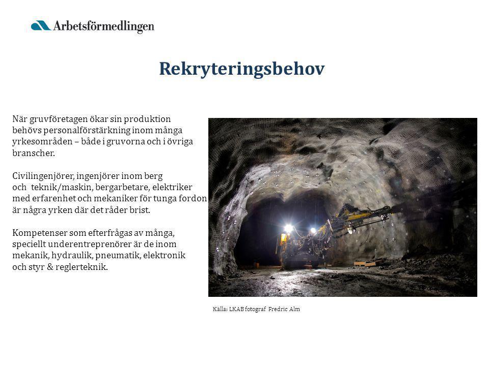 När gruvföretagen ökar sin produktion behövs personalförstärkning inom många yrkesområden – både i gruvorna och i övriga branscher.
