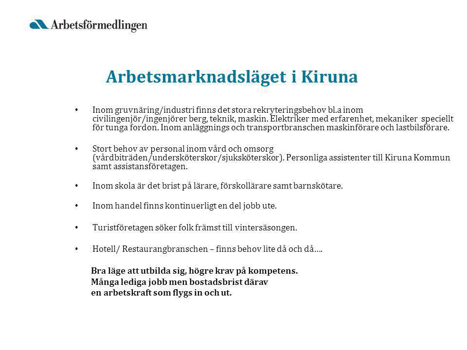 Arbetsmarknadsläget i Kiruna Inom gruvnäring/industri finns det stora rekryteringsbehov bl.a inom civilingenjör/ingenjörer berg, teknik, maskin.