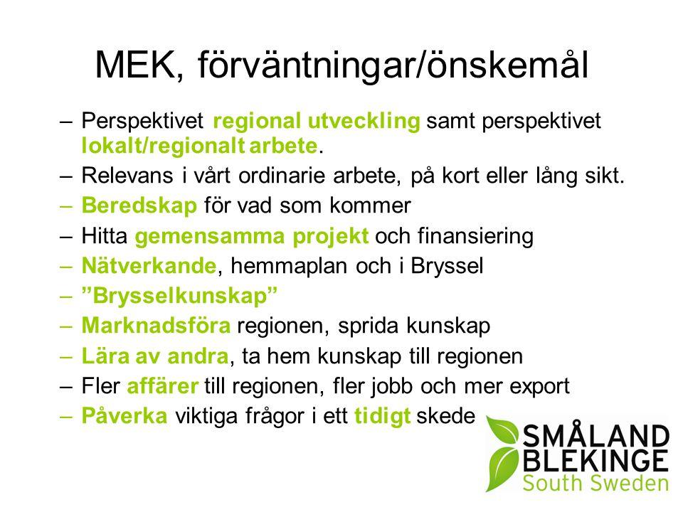 MEK, förväntningar/önskemål –Perspektivet regional utveckling samt perspektivet lokalt/regionalt arbete. –Relevans i vårt ordinarie arbete, på kort el