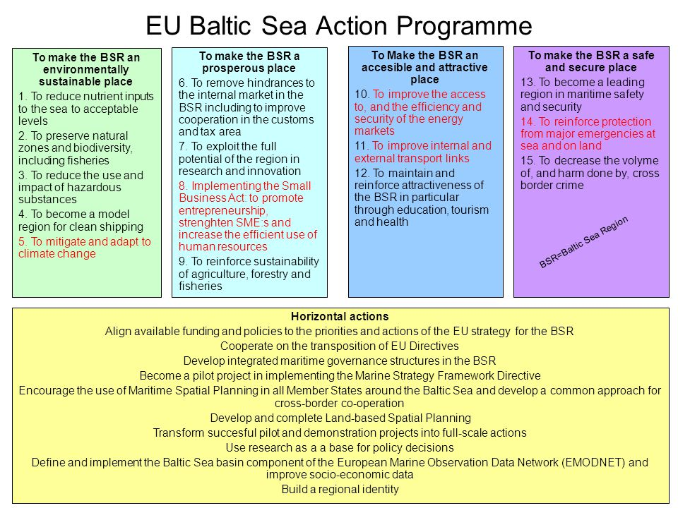 EU Baltic Sea Action Programme To make the BSR an environmentally sustainable place 1.