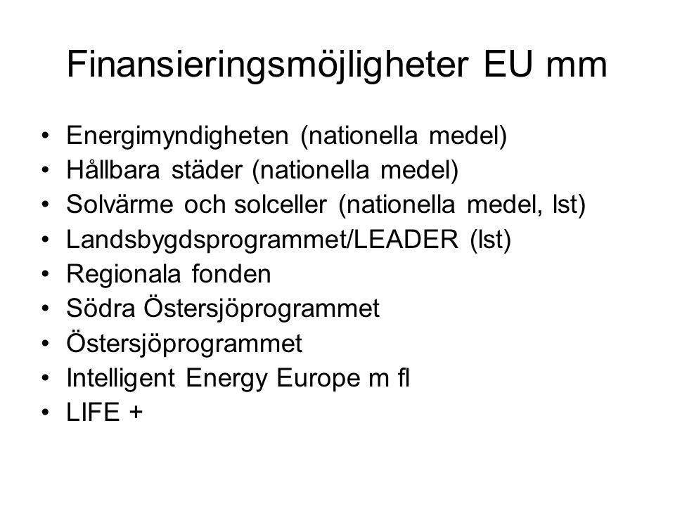 Finansieringsmöjligheter EU mm Energimyndigheten (nationella medel) Hållbara städer (nationella medel) Solvärme och solceller (nationella medel, lst)