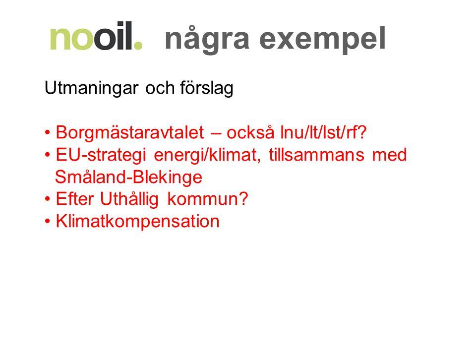 några exempel Utmaningar och förslag Borgmästaravtalet – också lnu/lt/lst/rf? EU-strategi energi/klimat, tillsammans med Småland-Blekinge Efter Uthåll