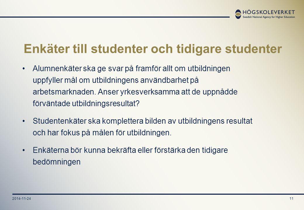 2014-11-2411 Enkäter till studenter och tidigare studenter Alumnenkäter ska ge svar på framför allt om utbildningen uppfyller mål om utbildningens användbarhet på arbetsmarknaden.